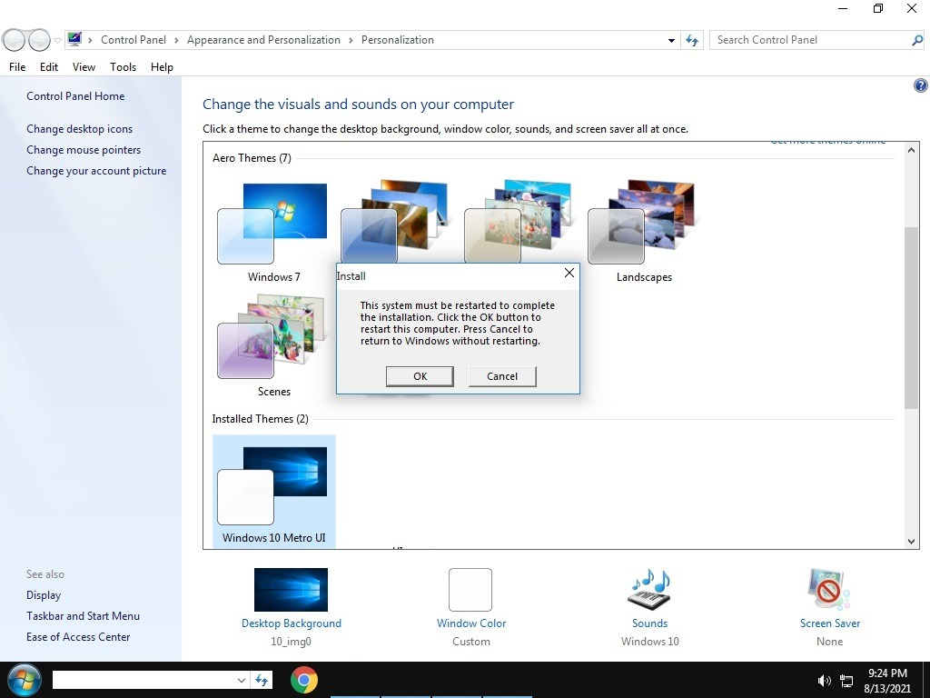 Anzuwendende Windows10-Theme Windows7-Transformation