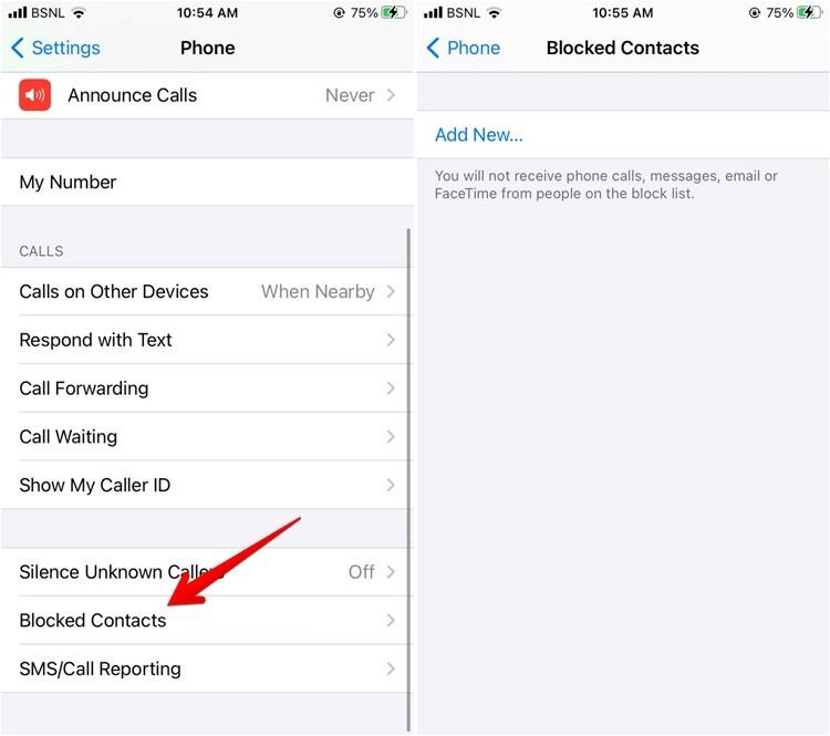 Iphone-Kontakte in den Einstellungen blockieren