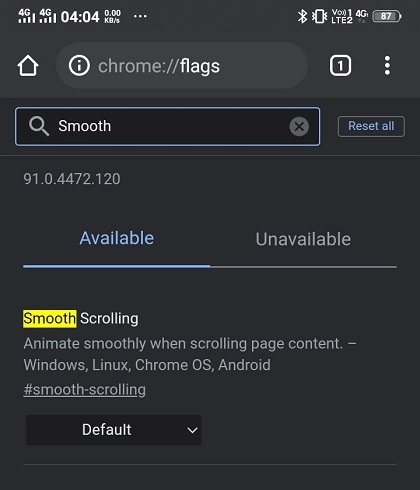Chrome Android-Flags reibungsloses Scrollen