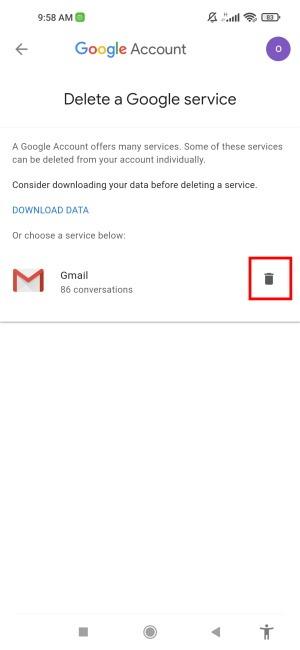 Gmail löschen Tippen Sie auf das Papierkorb-Symbol