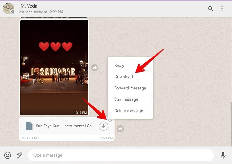 """Senden Sie die Dateien von Ihrem mobilen Gerät an den Chat-Thread und laden Sie sie auf Ihren PC herunter, indem Sie den kleinen Abwärtspfeil auf der empfangenen Datei drücken und auf die Schaltfläche """"Herunterladen"""" klicken.  Bei einigen Dateien, z. B. Audiodateien, müssen Sie in der Datei selbst auf die Schaltfläche """"Herunterladen"""" klicken."""