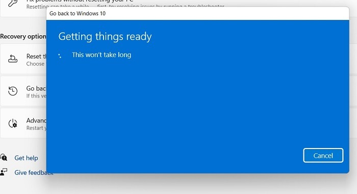 Windows11 Rollback für Windows10 Vorbereitung der Dinge