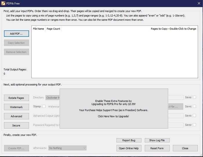 Die kostenlose Version hat nicht ganz so viele Funktionen, führt aber dennoch PDFs zusammen.  Das Premium-Upgrade kostet nur 3,99 USD, wenn Sie wechseln möchten.