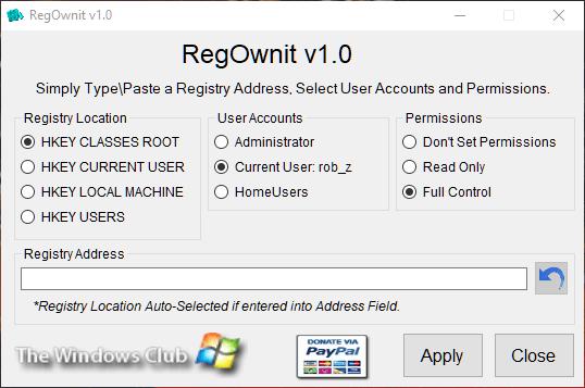 Übernehmen Sie den vollen Besitz von Windows-Registrierungsschlüsseln Regownit
