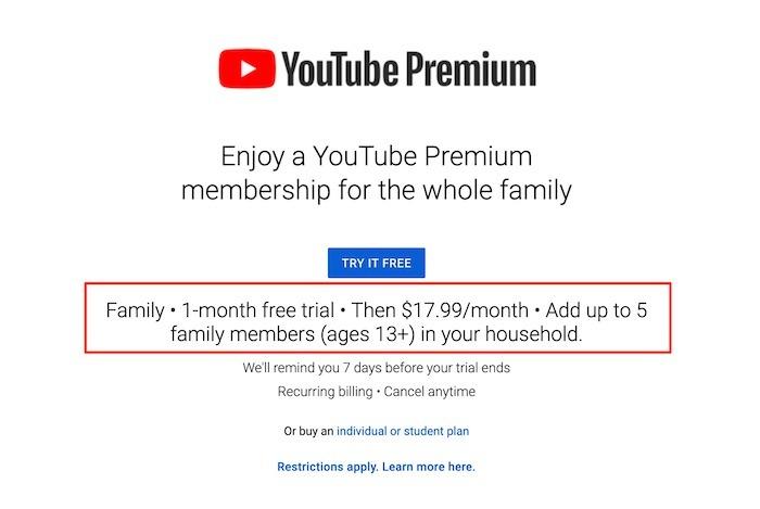 Youtube TV Premium Premium-Familie