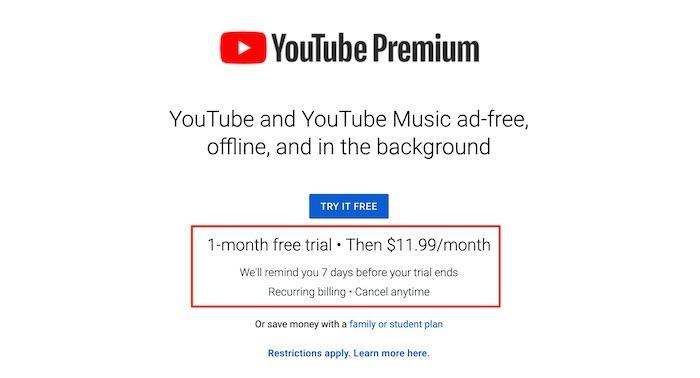Youtube TV Premium Premium-Preis