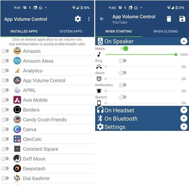 Android-App zur Lautstärkeregelung