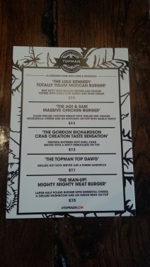 Topman burger menu
