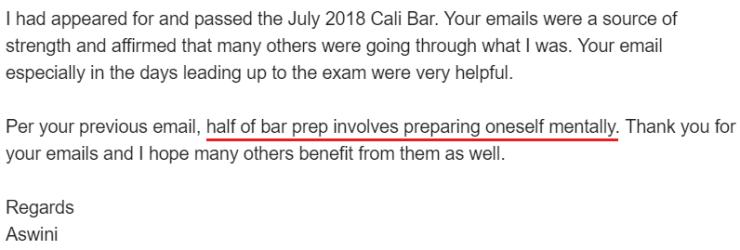 """Half of bar prep involves preparing oneself mentally."""