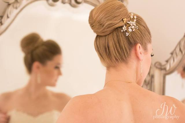Bridal hair and makeup for Starting Gate at GreatHorse wedding