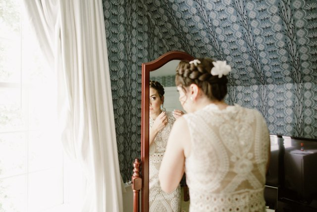 Historic-inspired bridal hair and makeup for Lauren's wedding at Old Sturbridge Village in Sturbridge, MA.