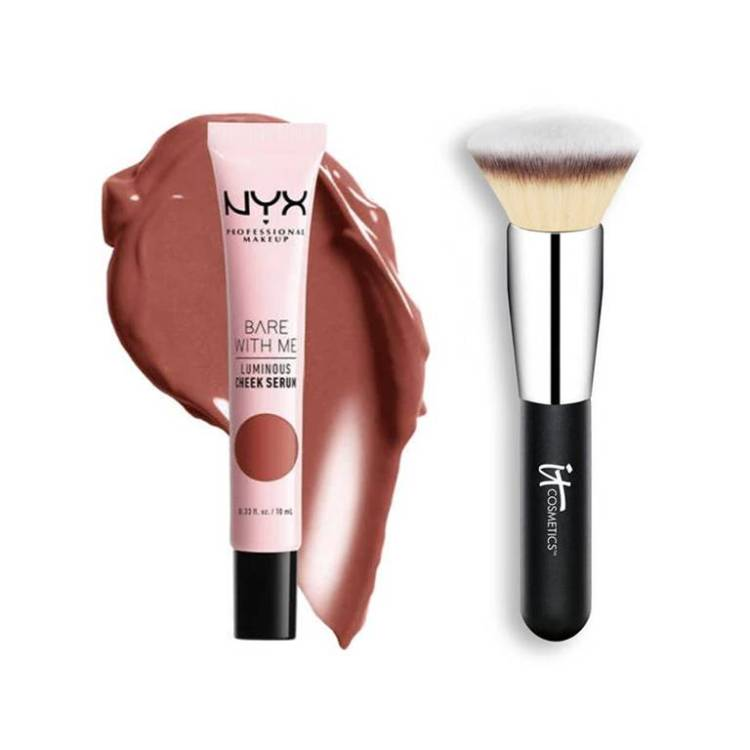 nyx professional makeup luminous blush serum, it cosmetics brush