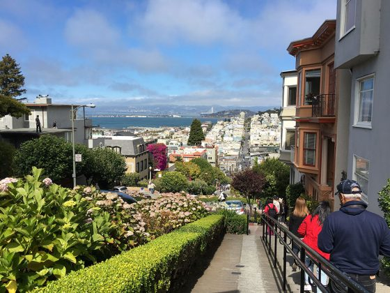 The view down Lombard Street