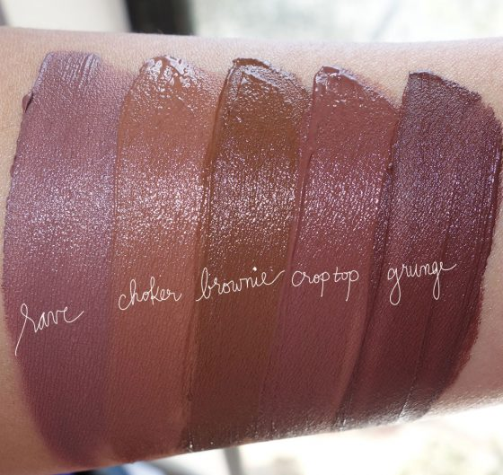 tarte tariest lip paint naught nudes swtaches