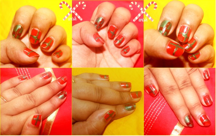 Christmas Nail Art Idea with tutorial: Red And Green Gift Tie