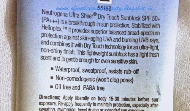 Neutrogena Ultra Sheer Dry Touch Sunblock SPF 50+ Review