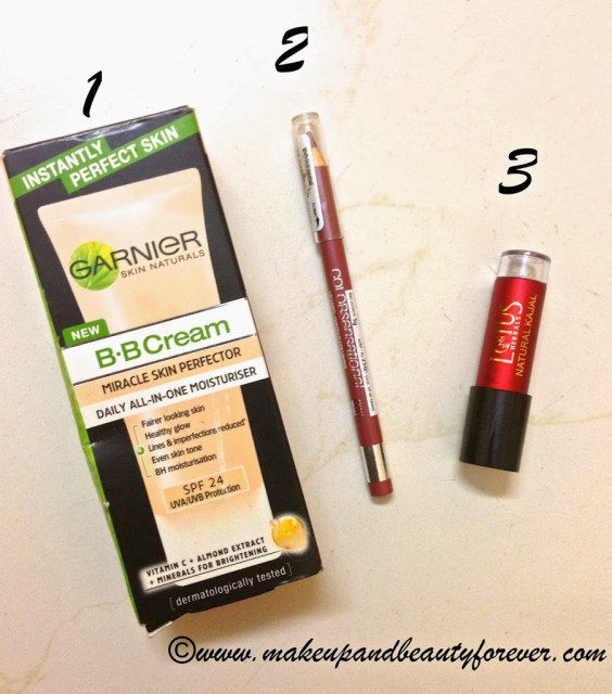 Garnier BB Cream (40g)  Maybelline Colorsensational Lipliner in the shade 360 Velvet Beige Lotus Herbals Natural Kajal