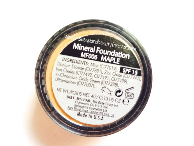 Bellapierre Mineral Foundation MF006 Maple in fab bag september 2014