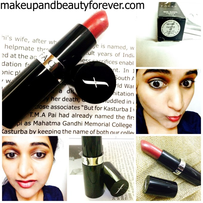 Faces Canada Go Chic Lipstick shade Claret Cup 416 Review swatch FOTD
