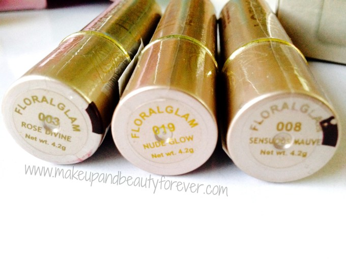 Lotus Herbals Floral Glam Lipstick in Rose Divine, Nude Glow and Sensuous Mauve