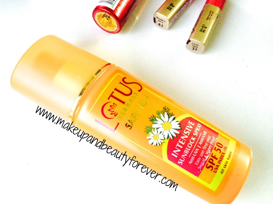 Lotus Herbals Safe Sun Intensive Sunblock Spray spf 50 with Anti UVA and Anti UVB Lotus Herbals sunscreen with high spf