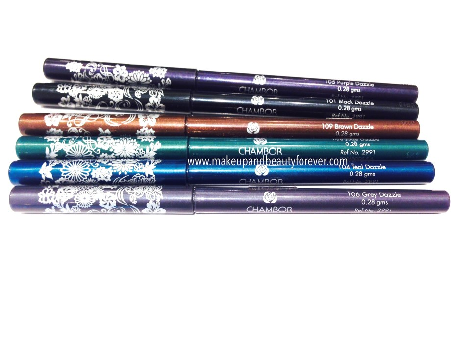 All Chambor Geneva Dazzle Transfer Proof Smooth Eye Pencils Review, Shades, Swatches, Price and Details