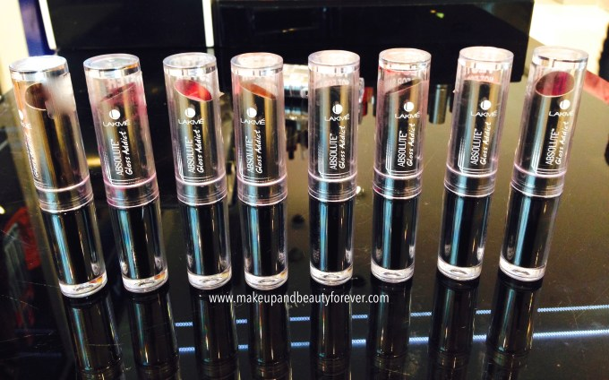 All Lakme Absolute Gloss Addict Lip Color Lipsticks Review, Shades, Swatches, Price and Details