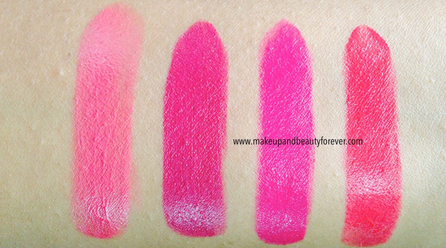 All Shades of Maybelline ColorShow Lipstick Swatches, Shades Review, Price, Details Crushed Candy 103, Violet Fusion 109, Fuschia Flare 110, Cherry Crush 207
