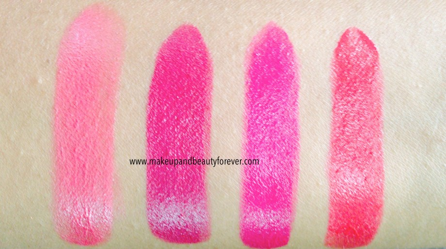 All Shades of Maybelline ColorShow Lipstick Swatches, Shades, Review, Price, Details Crushed Candy 103, Violet Fusion 109, Fuschia Flare 110, Cherry Crush 207