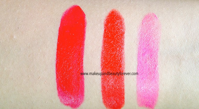 All Shades of Maybelline ColorShow Lipstick Swatches Shades, Review, Price, Details online available India Ruby Twilight 208, Red Rush 211, Plum-Tastic 402