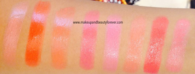 Lakme Gloss Addict Lip color lipstick red pink coral shades Nude Glow, Flaming Orange, Orange Candy, Very Berry, Pink Wink, Coral Lusture, Coral Pink, Desert Rose