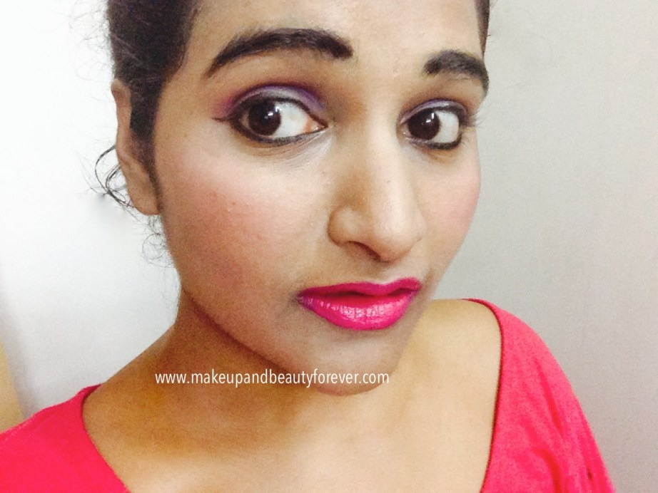 Maybelline ColorShow Lipstick Fuchsia Flare 110 Review Swatch Price FOTD Astha MBF
