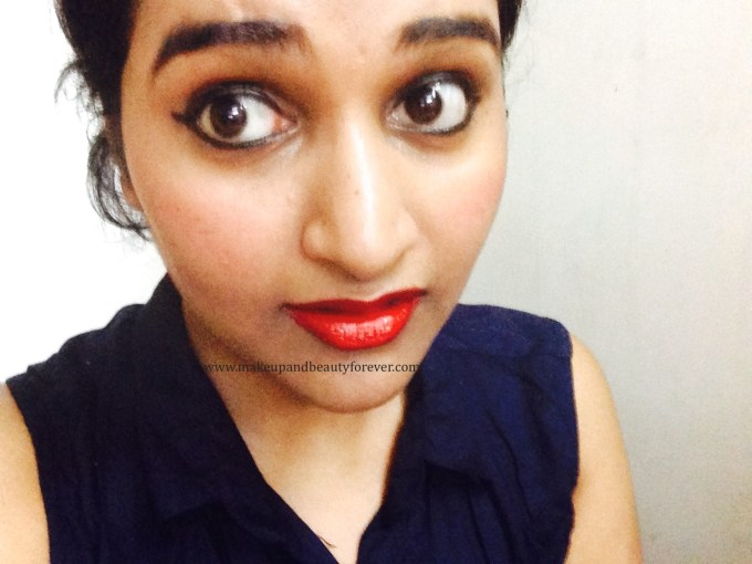 Maybelline ColorShow Lipstick Red Rush 211 Review, Swatch, Price, FOTD Astha Goel