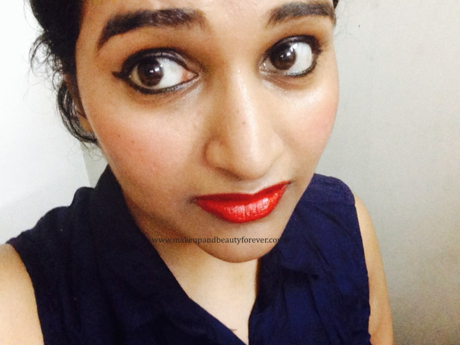 Maybelline ColorShow Lipstick Red Rush 211 Review, Swatch, Price, FOTD Astha MBF blog