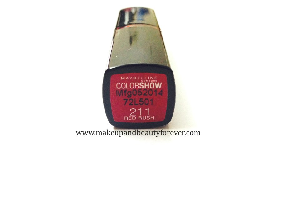 Maybelline ColorShow Lipstick Red Rush 211 Review, Swatch, Price, FOTD bridal lipstick