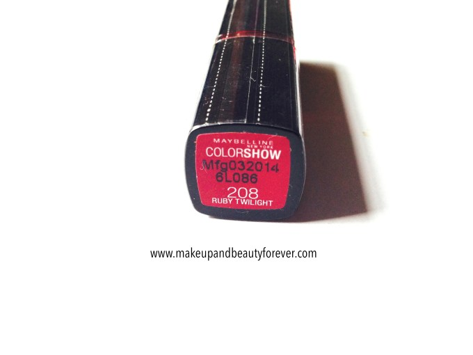 Maybelline ColorShow Lipstick Ruby Twilight 208 Review, Swatch, Price, FOTD India