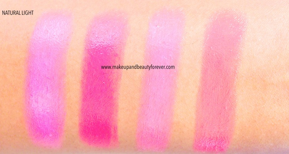 Maybelline Pink Alert Lipsticks POW1, POW 2, POW 3, POW 4 Review, Shades, Swatches