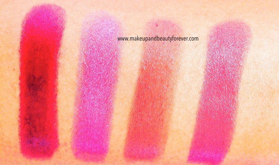 Maybelline The Jewels Color Sensational Lipstick Shades Swatches Refined Wine 82, Rose Quartz 1432, Crazy for Coffee 275, Hooked On Pink 65