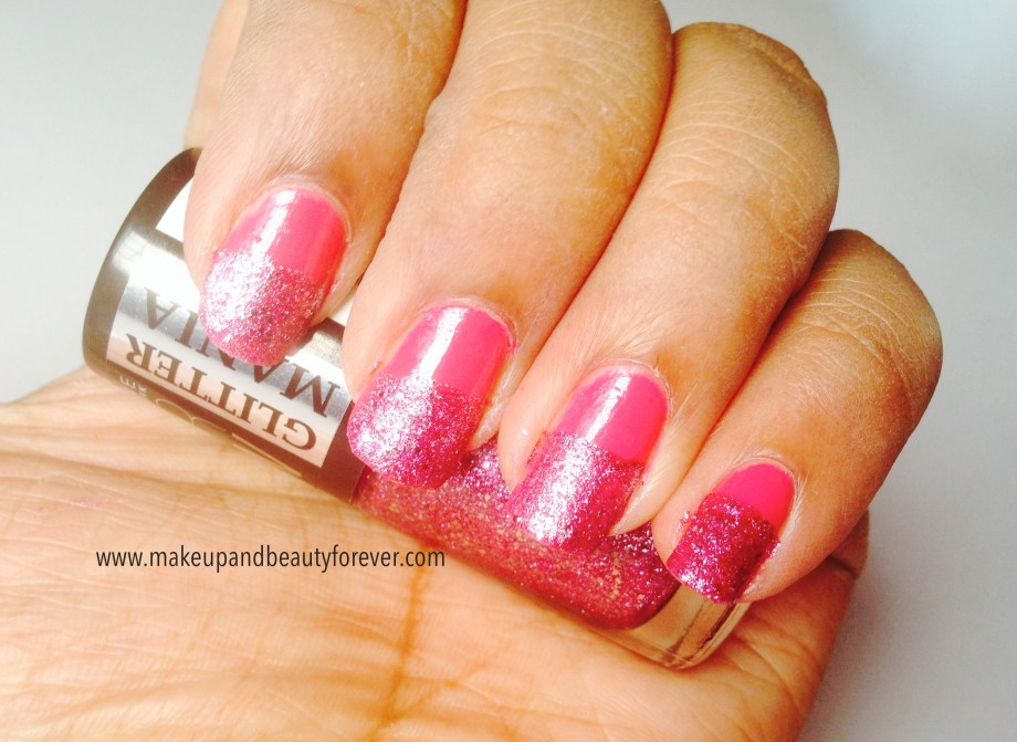 Pink and Black Glitter Festive Nail Art Tutorial 11