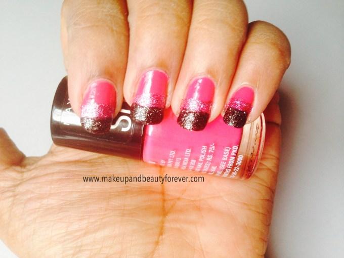 Pink and Black Glitter Festive Nail Art Tutorial 3