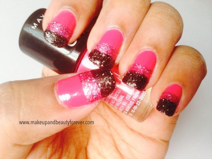 Pink and Black Glitter Festive Nail Art Tutorial 5