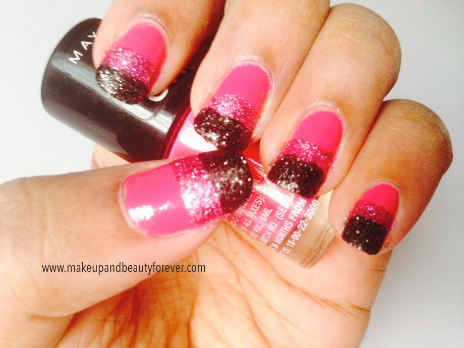 Pink and Black Glitter Festive Nail Art Tutorial 5