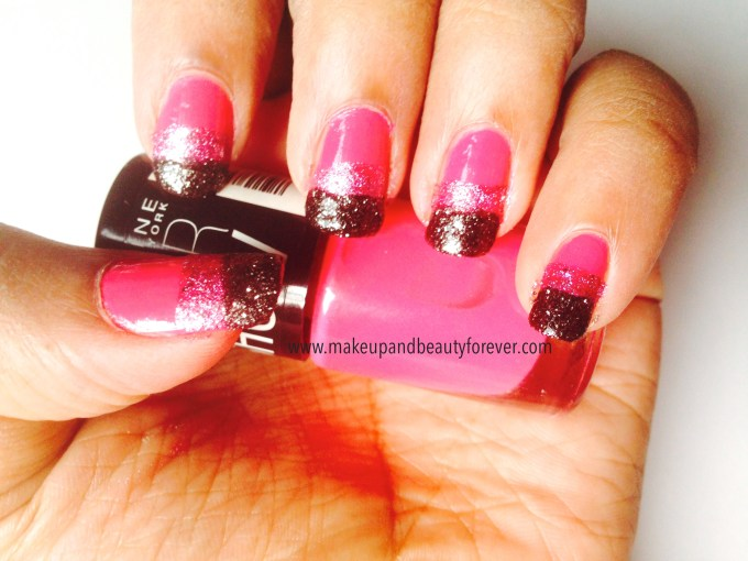 Pink and Black Glitter Festive Nail Art Tutorial 6