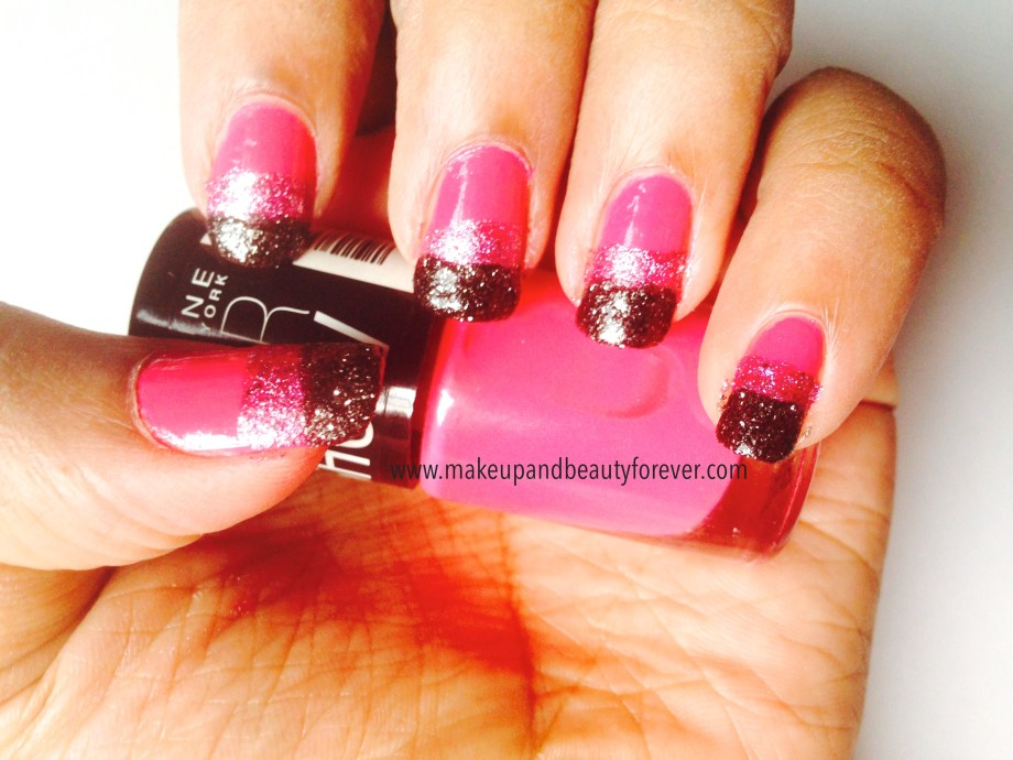 Pink and Black Glitter Festive Nail Art Tutorial 6