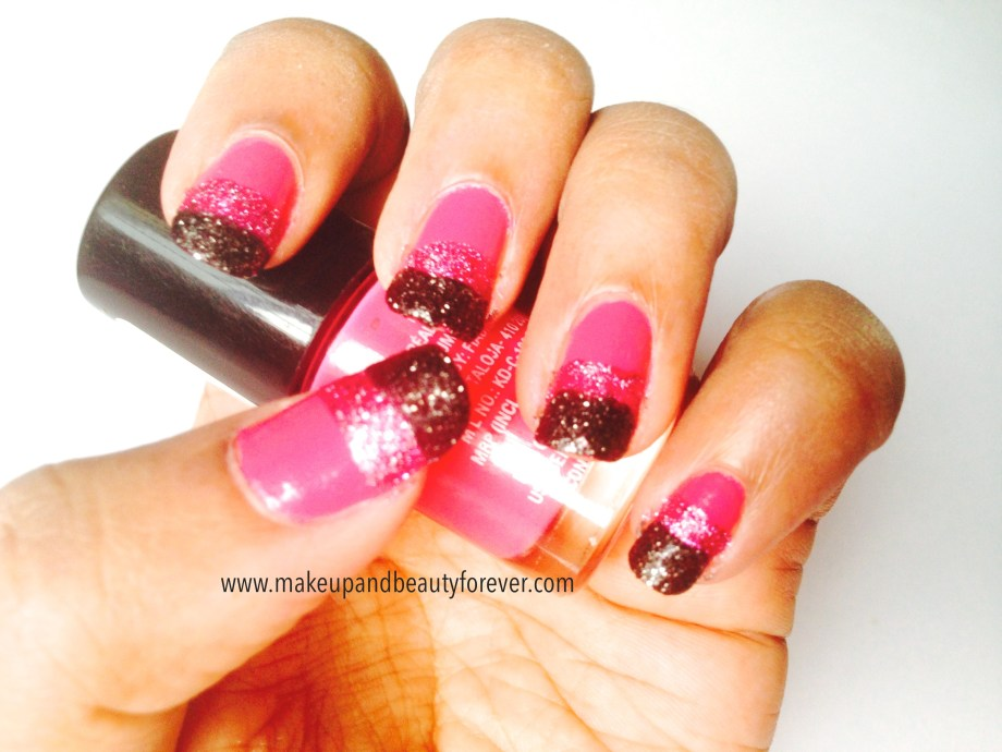 Pink and Black Glitter Festive Nail Art Tutorial maybelline color show fiery fuchsia