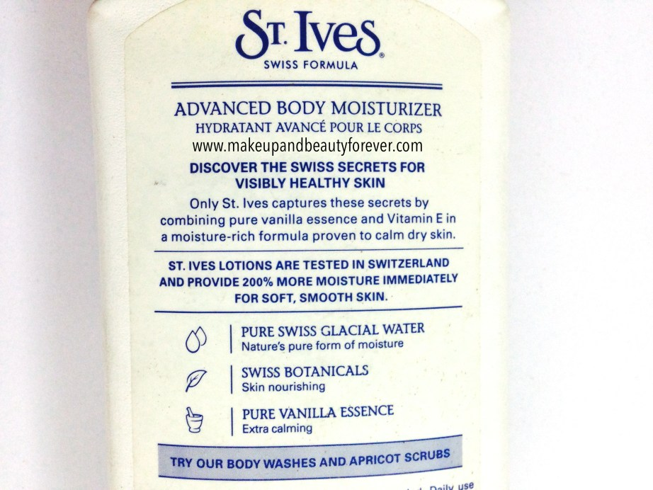 ST. Ives Swiss Vanilla Advanced Body Moisturizer Review 3
