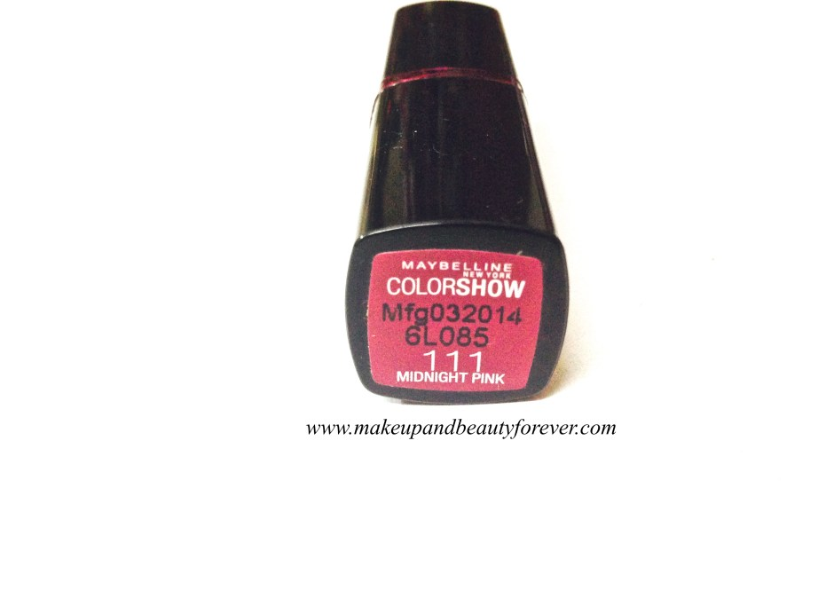 Maybelline ColorShow Lipstick Midnight Pink 111 Review, Swatch Price FOTD