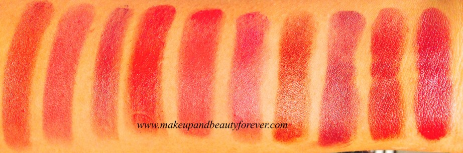 Revlon Super Lustrous Lipstick Swatches Caramel Candy, Paradise Pink, Copper Glow Berry, Plum Star, Cha Cha Cherry, Plumalicious, Bronze, Plum, Love That Red, Raspberry