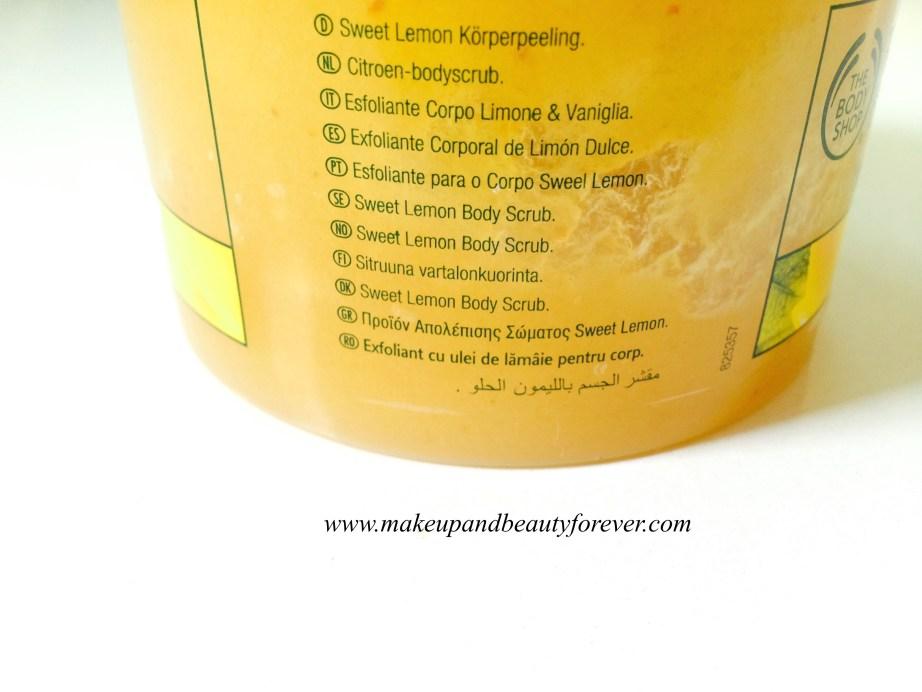 The Body Shop Tendre Citron Exfoliant Corporel : The Body Shop Sweet Lemon Body Scrub