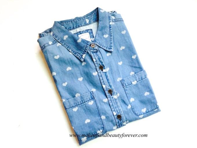 Heart Printed Denim Shirt